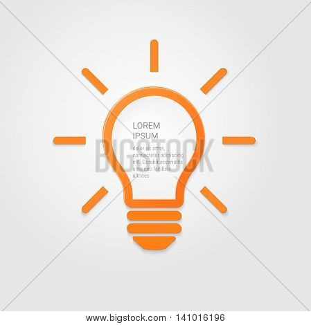 Light bulb idea inspiration concept. Lighted lamp. Solution sign. Template beckground for your creative design, print, booklet, brochure, website, webdesign, mobile app. Vector illustration.