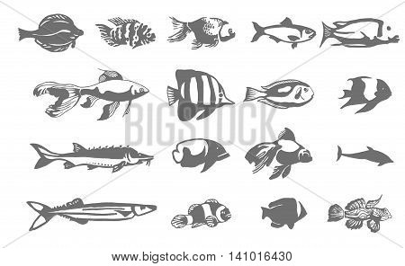 Fish silhouette logo symbol icon illustration set