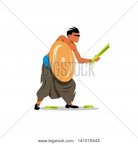 Warrior armed with thorny pandanus leaves. Isolated on a white background