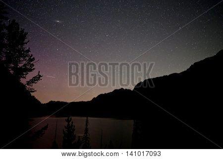 Aurora Borealis and nebula. Upper Snow Lake Enchantment lakes basin near Leavenworth and Seattle WA.
