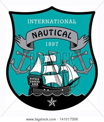Nautical label with the word Nautical written inside, vector illustration