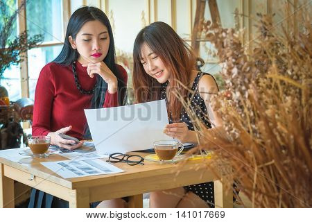 brainstorming, Young businessgirl discussing data at meeting