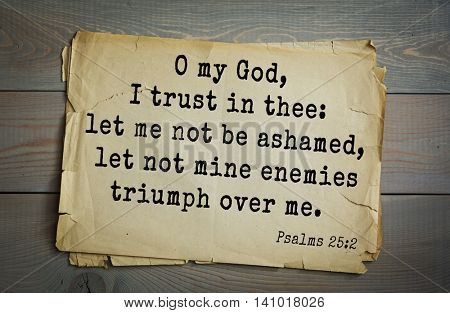 Top 500 Bible verses. O my God, I trust in thee: let me not be ashamed, let not mine enemies triumph over me.   Psalms 25:2