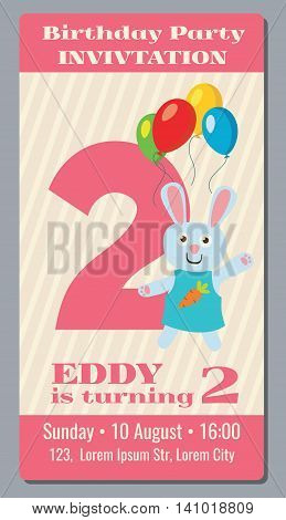 Birthday anniversary party invitation card with cute rabbit vector template 2 years old. Invitation to event birthday, illustration card with invitation to second birthday