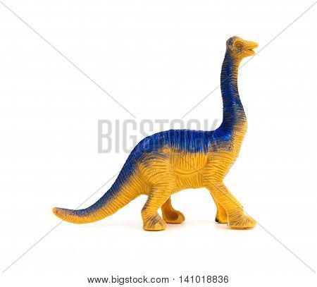 side view brachiosaurus toy on a white background