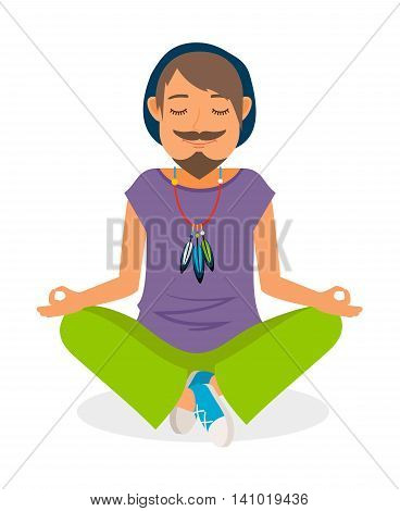 Funky man vector icon. Hippie man yoga meditation