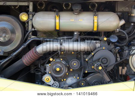 Car Engine - Modern powerful  engine  motor Rotating belt.