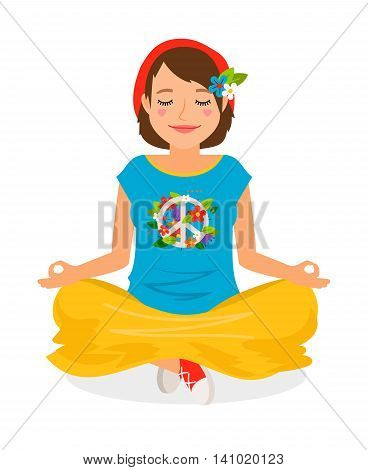 Hippie Girl Yoga Meditation vector illustration on white