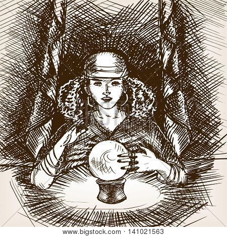 Medium woman with crystal magic ball sketch style vector illustration. Old engraving imitation.