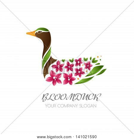 Duck bird icon. Duck with flowers on wings. Abstract vector logo template for wedding beauty or spa salon.