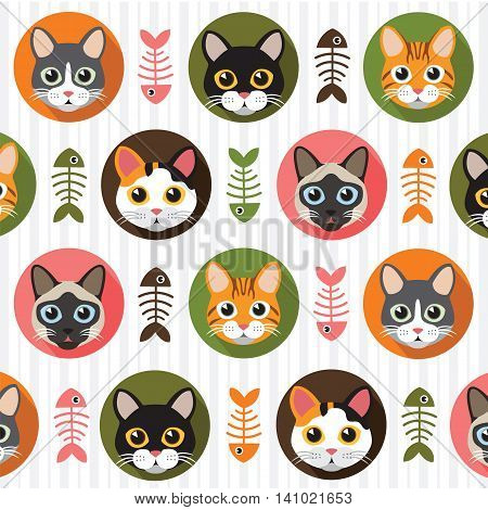 Cute Cats and fishbone vector pattern illustrations on colored background.