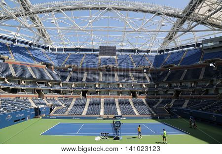 NEW YORK - AUGUST 24, 2015: Newly Improved Arthur Ashe Stadium at the Billie Jean King National Tennis Center ready for US Open tournament in Flushing, NY