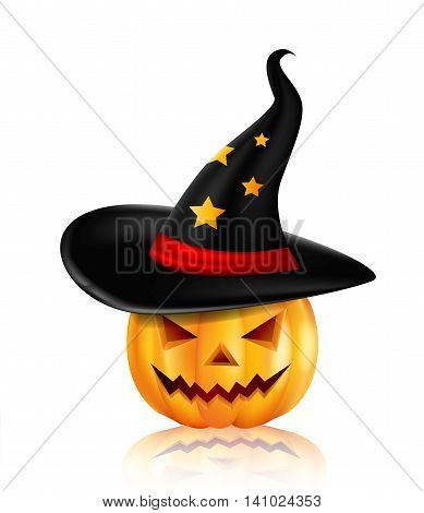 Halloween pumpkin wearing witch hat for you design
