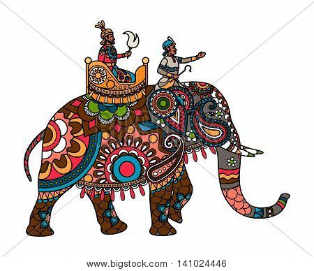 Ethnic Indian maharajah on the elephant colored illistration. Vector illustration