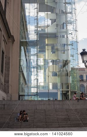 Madrid Spain July 11 2016: MNCARS National museum of art Reina Sofia elevator structure in Madrid