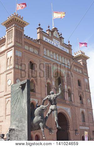 Madrid Spain July 12 2016: Bullring of Las Ventas with Bullfighter sculpture
