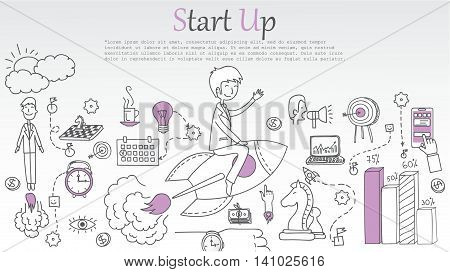 Hand drawn business ideas sketch of start up.