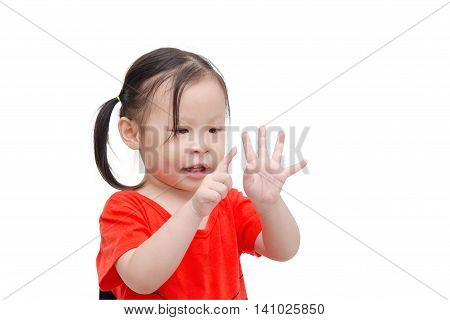 Little asian girl counting her finger over white