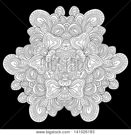 Uncolored vector floral element on black background.