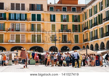 Palma de Mallorca Spain - May 27 2016: Street artists on the market at Placa Major
