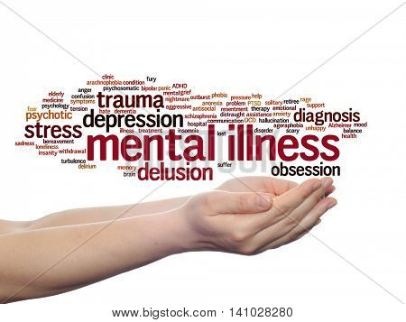 Concept or conceptual mental illness disorder management or therapy abstract word cloud held in hands isolated on background