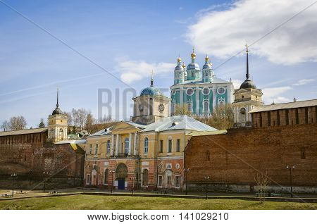 Holy assumption Cathedral. Smolensk. Russia. View from bridge. Sunny day