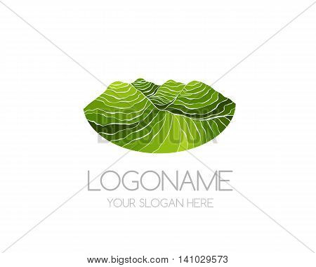 Tea plantation icon. Vector logo template for package design