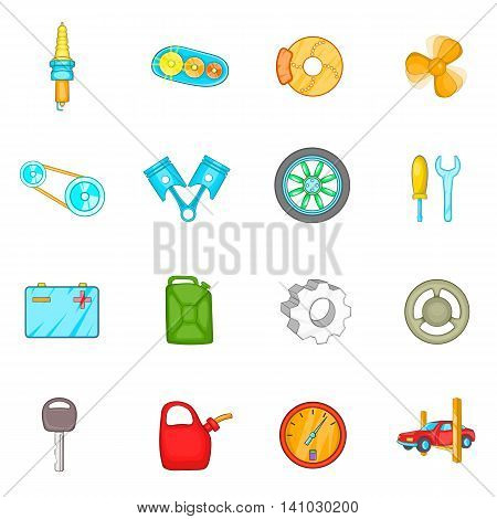 Auto spare parts icons set in cartoon style. Car maintenance set collection vector illustration
