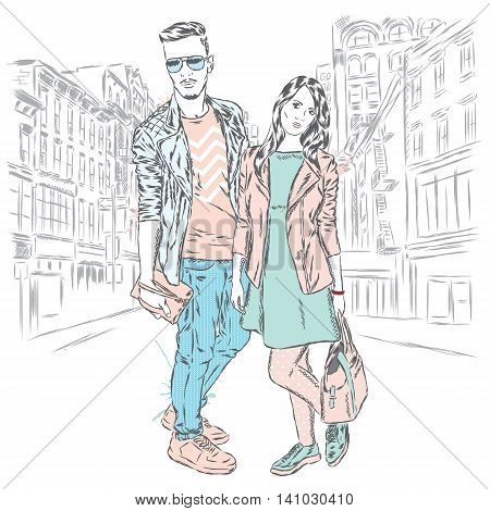 Beautiful man and woman on a city street. Vector illustration.
