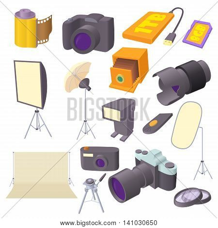 Photo studio icons set in cartoon style. Photography equipment set collection vector illustration