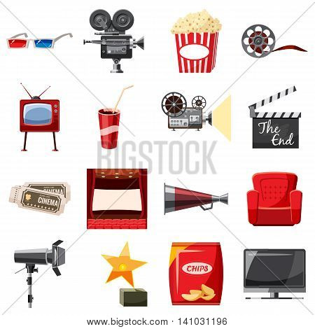 Cinema icons set in cartoon style. Movie equipment set collection vector illustration