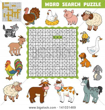 Vector Color Crossword About Farm Animals. Word Search Puzzle