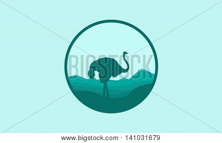 Silhouette of Ostrich scenery icon vector illustration