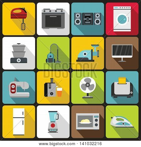 Household appliances icons set in flat style. Home electrical devices elements set collection vector illustration