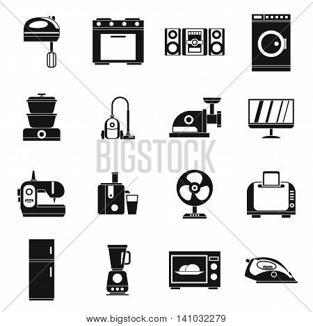 Household appliances icons set in simple style. Home electrical devices set collection vector illustration