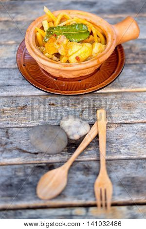 Thai food curry streaky pork with bamboo shoots in bowl earthenware Thailand food
