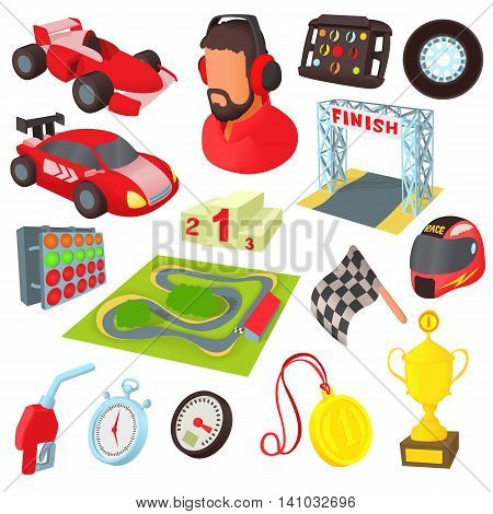 Race icons set in cartoon style. Car racing set collection vector illustration