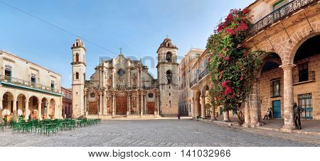HAVANA, CUBA - MAY 15: San Cristobal Cathedral on May 15, 2013, Havana, Cuba. Roman catholic religion is very strong all over Cuba, in spite of the strong communist effects.