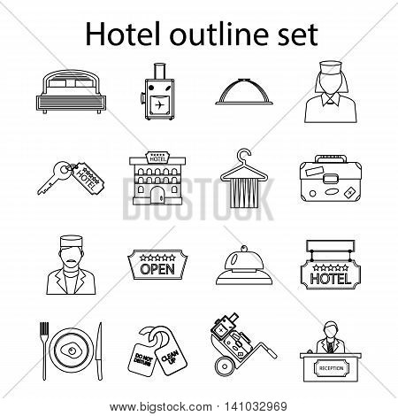 Hotel icons set in outline style. Hotel accommodation services set collection vector illustration