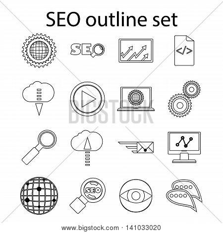 SEO icons set in outline style. Seo optimization set collection vector illustration