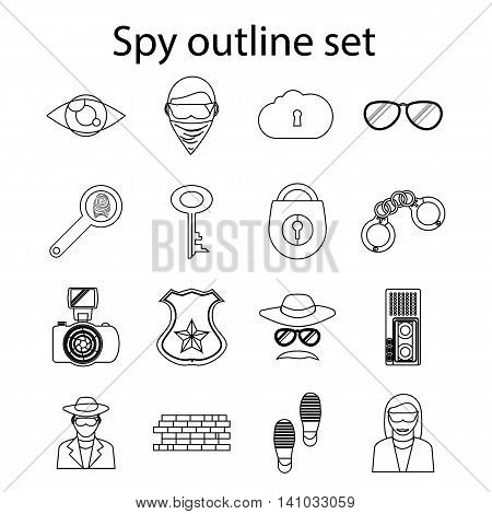 Spy icons set in outline style. Detective and security eelements set collection vector illustration