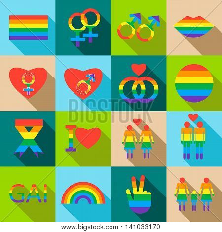 Homosexual icons set in flat style. Rainbow LGBT symbols set collection vector illustration