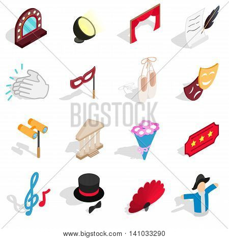 Theatre icons set in isometric 3d style. Theatre acting performance elements set collection vector illustration