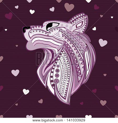 Vintage wolf head ethnic pattern hand draw. Predator. Wolf symbol freedom. Vector Wolf. Love.