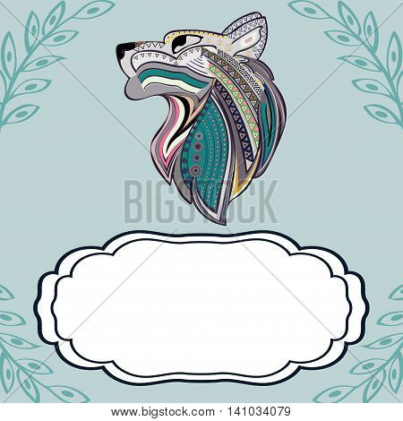 Vintage wolf head ethnic color pattern hand draw place labels. Predator. Wolf symbol freedom. Vector Wolf.