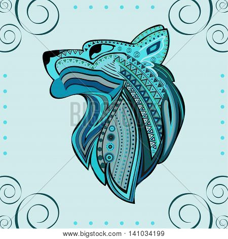 Vintage wolf head ethnic color pattern hand draw. Predator. Wolf symbol freedom. Vector Wolf.