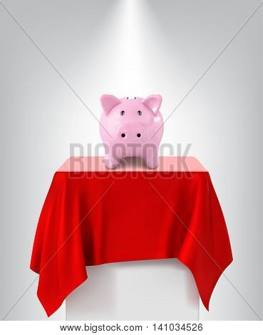 Piggy Bank on pedestal isolated on a white background