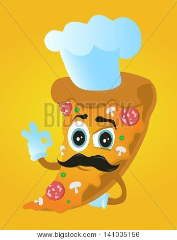 pizza chef cook with mustache in cap illustration