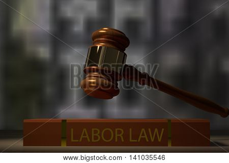 3D rendering of a judge hammer and labor law book on a table