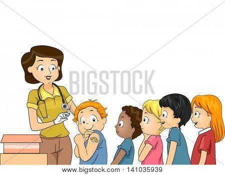Illustration of Children Lining Up to be Vaccinated